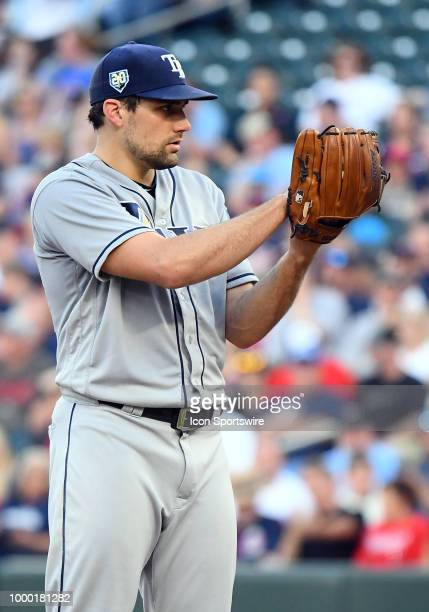 Tampa Bay Rays Pitcher Nathan Eovaldi gets set to pitch during a MLB game between the Minnesota Twins and Tampa Bay Rays on July 13 2018 at Target...