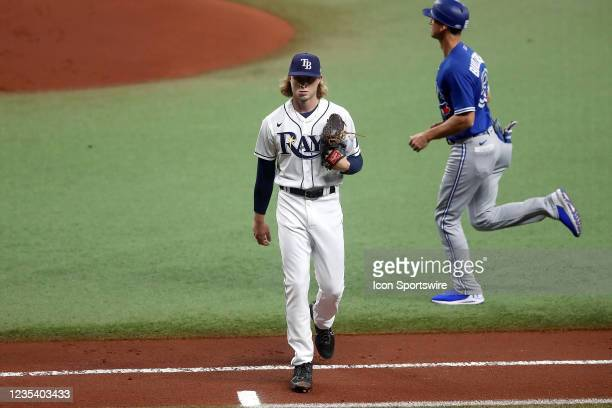 Tampa Bay Rays Pitcher Shane Baz completes the first inning successfully during the regular season game between the Toronto Blue Jays and the Tampa...