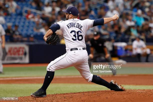 Tampa Bay Rays relief pitcher Andrew Kittredge delivers a pitch during the regular season MLB game between the New York Yankees and Tampa Bay Rays on...