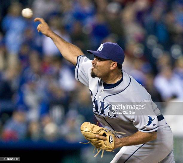 Tampa Bay Rays relief pitcher Joaquin Benoit throws in the 8th inning against the Kansas City Royals at Kauffman Stadium in Kansas City Missouri on...