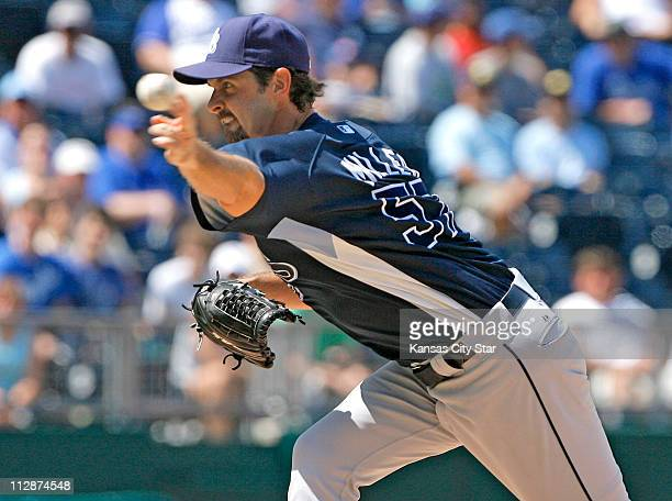 Tampa Bay Rays relief pitcher Trever Miller throws in the seventh inning against the Kansas City Royals at Kauffman Stadium in Kansas City Missouri...