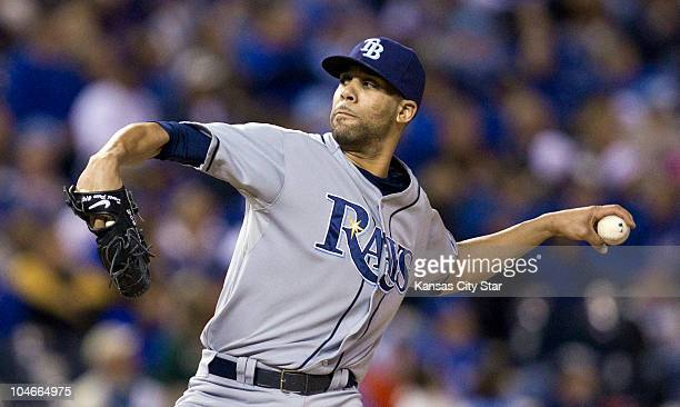 Tampa Bay Rays reliever David Price throws in the fifth inning against the Kansas City Royals at Kauffman Stadium in Kansas City Missouri on Saturday...