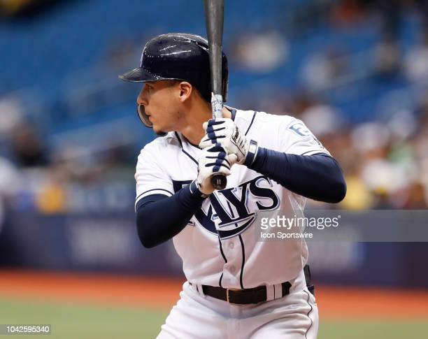 Tampa Bay Rays shortstop Andrew Velazquez at bat during the regular season MLB game between the New York Yankees and Tampa Bay Rays on September 27...