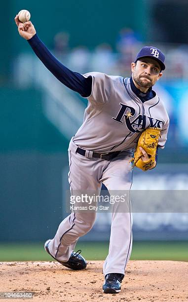 Tampa Bay Rays starting pitcher Andy Sonnanstine throws in the first inning against the Kansas City Royals at Kauffman Stadium in Kansas City...