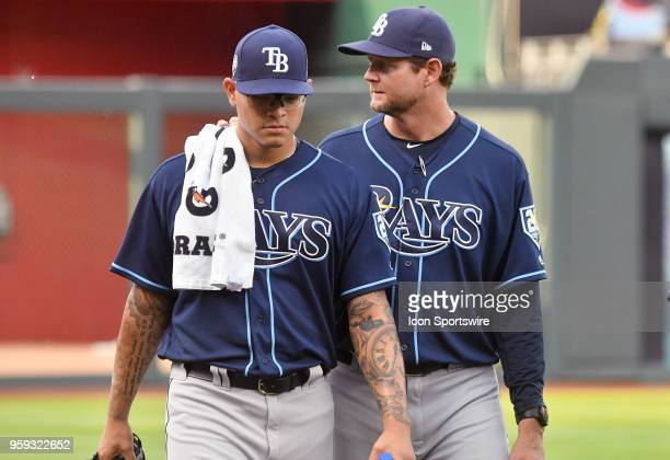 Tampa Bay Rays starting pitcher Anthony Banda and Tampa Bay rays pitching coach Kyle Snyder before a Major League Baseball game between the Tampa Bay...