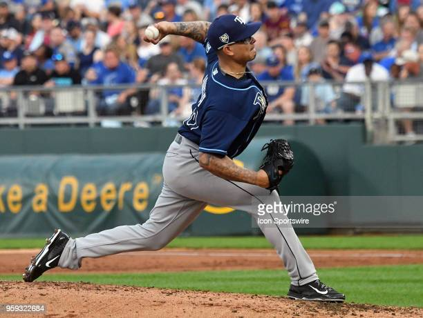 Tampa Bay Rays starting pitcher Anthony Banda pitches in the first inning during a Major League Baseball game between the Tampa Bay Rays and the...