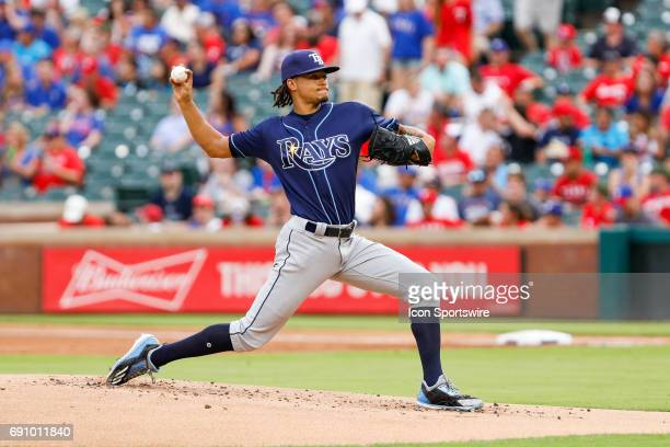 Tampa Bay Rays Starting pitcher Chris Archer throws during the MLB game between the Tampa Bay Rays and Texas Rangers on May 31 2017 at Globe Life...