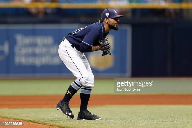 Tampa Bay Rays starting pitcher Sergio Romo plays third base in the 9th inning of the regular season MLB game between the New York Yankees and Tampa...