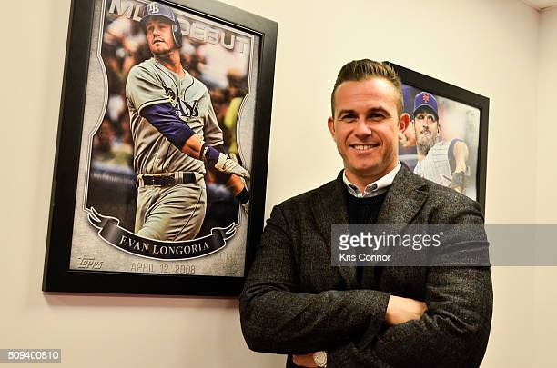 Tampa Bay Rays third baseman Evan Longoria attends the Open Topps Baseball Series 1 Cards event at the Topps' offices on February 10 2016 in New York...