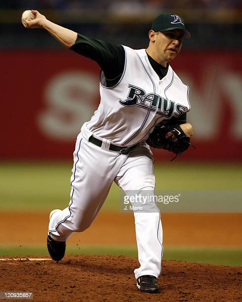 Tampa Bay relief pitcher Shawn Camp gets the save in Tuesday's game against the Boston Red Sox at Tropicana Field in St Petersburg Florida on July 4...