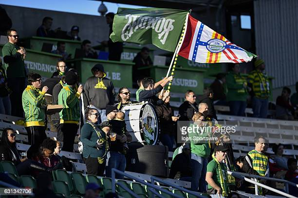 Tampa Bay Rowdies supporters during the first half of a Florida Cup soccer game between the Tampa Bay Rowdies and VFL Wolfsburg on January 08 at Al...