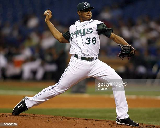 Tampa Bay starting pitcher Edwin Jackson makes a pitch in Friday night's action against Cleveland at Tropicana Field in St Petersburg Florida on...
