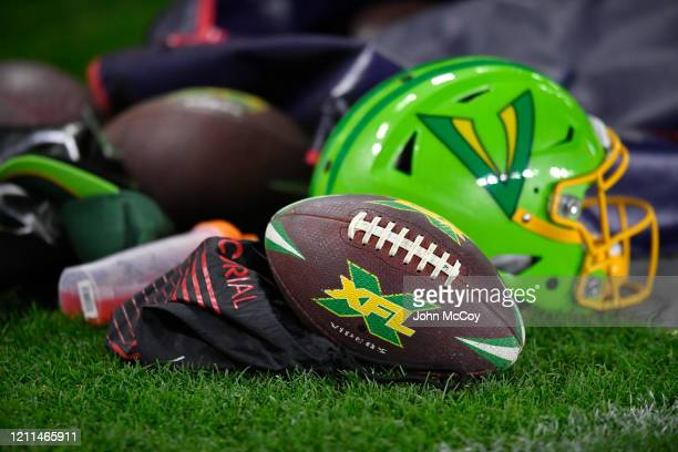 Tampa Bay Vipers football and helmet seen on the sideline while playing the LA Wildcats at Dignity Health Sports Park during an XFL game on March 8...