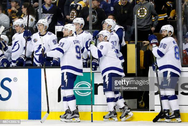 Tampa Bay waits for a video review during a game between the Boston Bruins and the Tampa Bay Lightning on November 29 at TD Garden in Boston...
