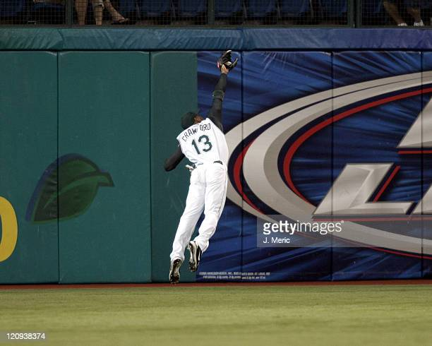 Tampa Bay's Carl Crawford makes a great catch in Monday night's game against the Cleveland Indians at Tropicana Field in St Petersburg Florida on...