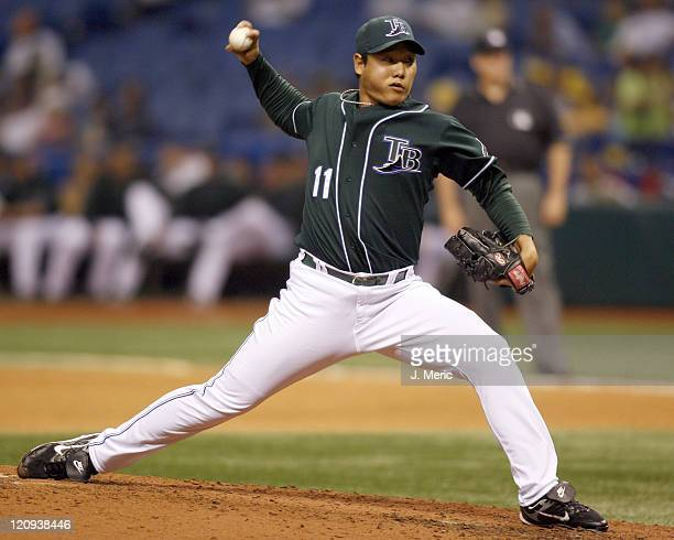 Tampa Bay's Jae Kuk Ryu looks to make a pitch in Friday night's game against Oakland at Tropicana Field in St Petersburg Florida on May 4 2007