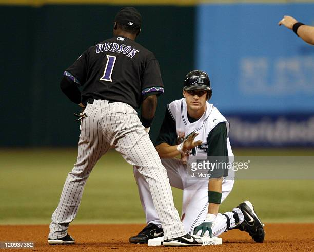 Tampa Bay's Rocco Baldelli is safe at second on this double as Arizona's Orlando Hudson was late with the tag in Tuesday night's game at Tropicana...