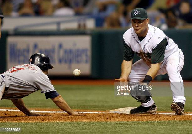 Tampa Bay's Ty Wigginton awaits the throw as Cleveland's Grady Sizemore gets safely back to first during Friday night's action at Tropicana Field in...