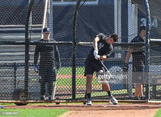 Greg Bird of the New York Yankees takes batting practice at the team's minorleague complex in Tampa Florida on February 11 2019