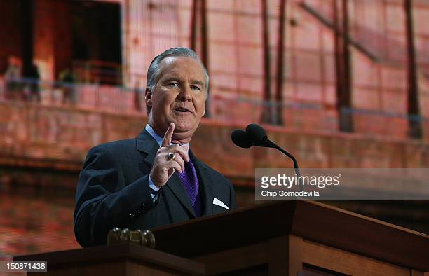 Tampa FL Mayor Bob Buckhorn speaks during the Republican National Convention at the Tampa Bay Times Forum on August 28 2012 in Tampa Florida Today is...