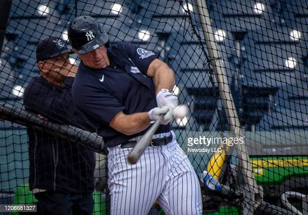 New York Yankees' Erik Kratz taking batting practice during spring training in Tampa Florida on Feb 14 2020