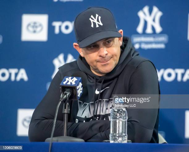 New York Yankees' manager Aaron Boone during a press conference in the Pavilion at Steinbrenner Field during spring training in Tampa, FL on Feb. 11,...