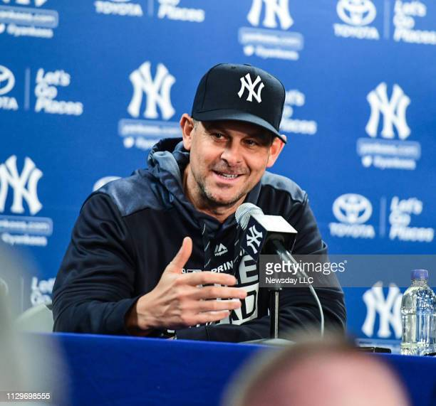 New York Yankees manager Aaron Boone speaks to the media on the first day of Spring Training at George M Steinbrenner Field in Tampa Florida February...