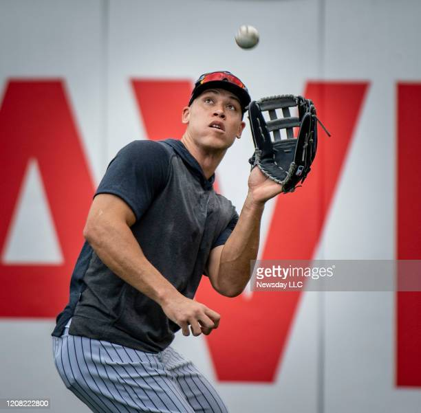 New York Yankees outfielder Aaron Judge looking to catch a fly balls during spring training in Tampa Florida on Thursday Feb 20 2020