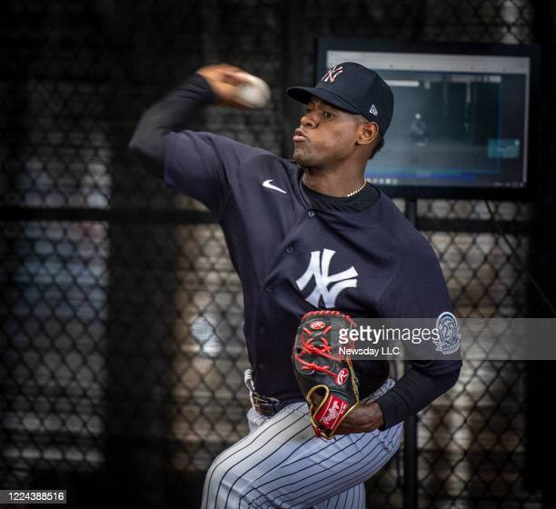 New York Yankees' pitcher Luis Severino throwing in the bullpen during spring training in Tampa Florida on February 16 2020