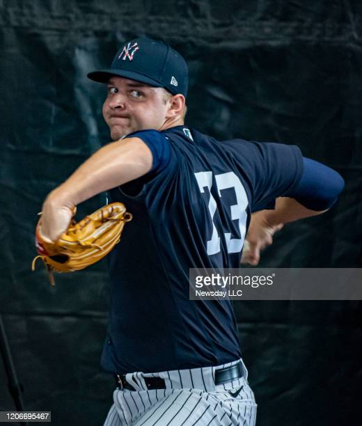 New York Yankees' pitcher Michael King throwing in the bullpen during spring training in Tampa Florida on Feb 13 2020