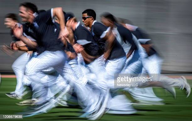 New York Yankees pitchers running interval during spring training in Tampa FL on Saturday Feb 15 2020