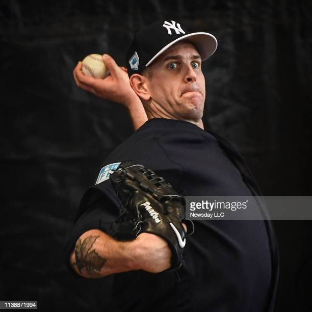 New York Yankees pitcher James Paxton throws a bullpen session at George M Steinbrenner Field in Tampa Florida during spring training on February 15...