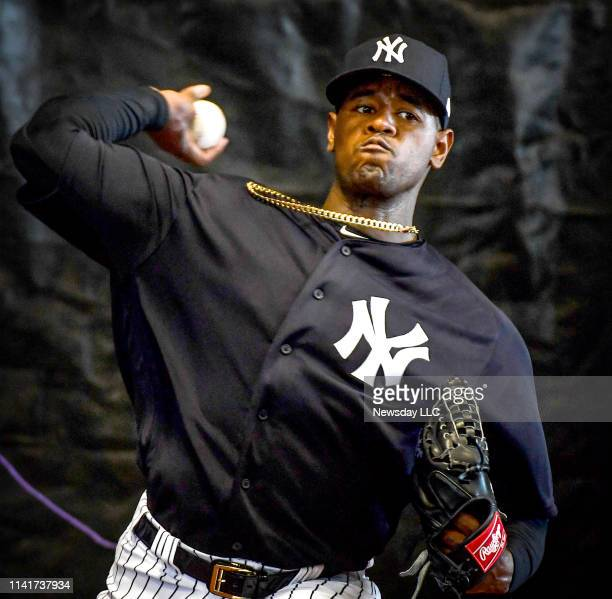 New York Yankees pitcher Luis Severino throws a bullpen session during spring training at George M Steinbrenner Field in Tampa Florida on February 17...