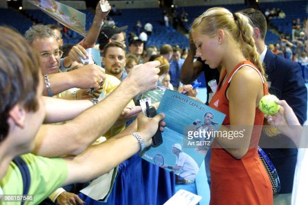 Tampa Florida Anna Kournikova signing autographs for fans after defeating home town favorite Jennifer Capriati 64 75 in an exhibition match