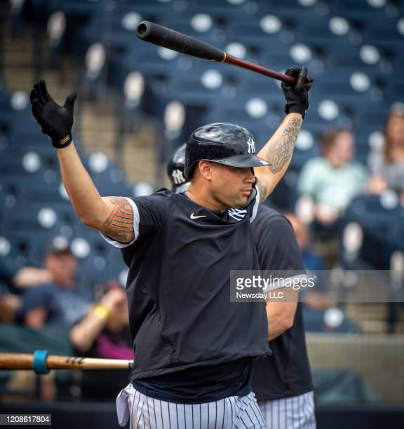 New York Yankees' catcher Gary Sanchez preparing for live batting practice at spring training in Tampa Florida on February 20 2020
