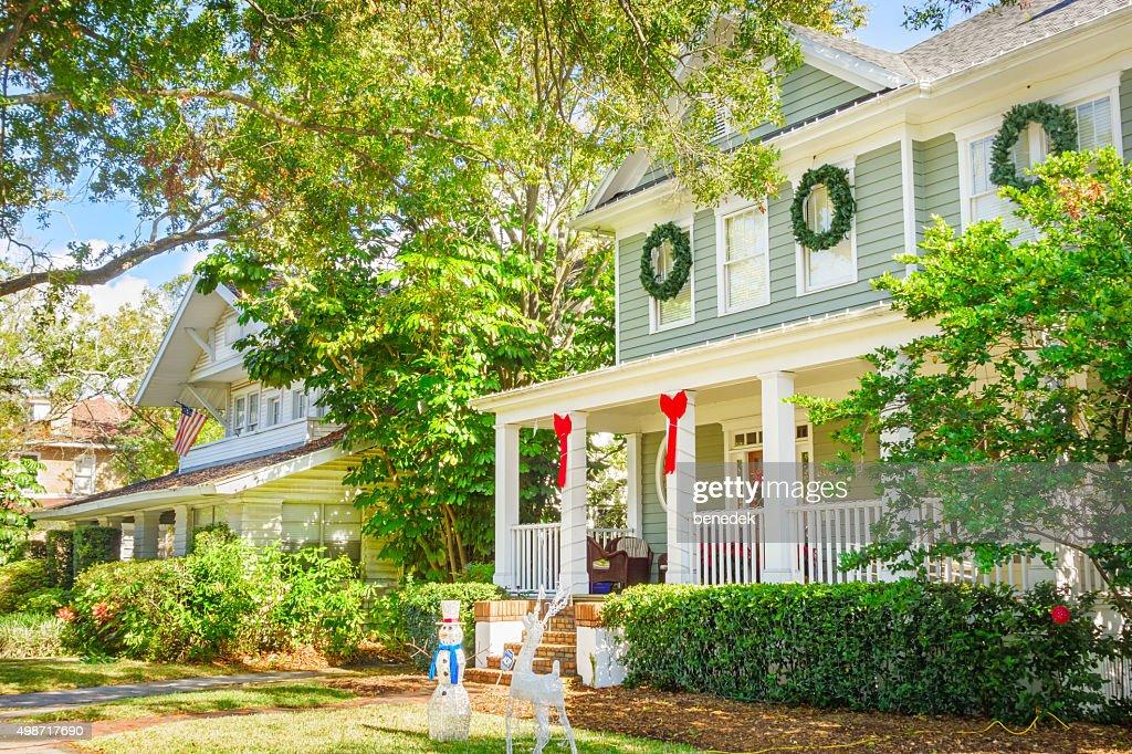 Tampa Florida USA Hyde Park Neighborhood Homes Decorated at Christmas : Stock Photo