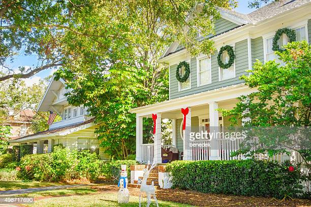 tampa florida usa hyde park neighborhood homes decorated at christmas - florida christmas stock pictures, royalty-free photos & images