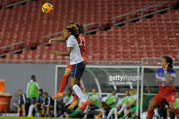 Tampa Florida USA Laura Georges of France Tobin Heath of the USA during USA v France friendly International soccer match at the Raymond James Stadium...