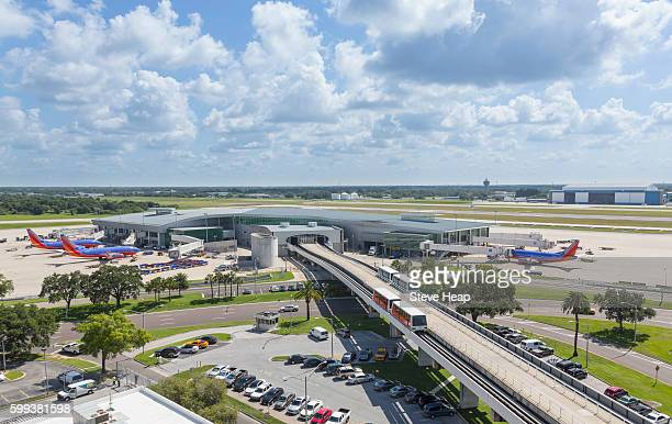 Tampa International Airport with trains to the terminal building, Tampa, Florida, USA