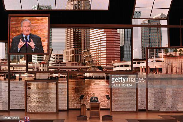Tampa Mayor Bob Buckhorn speaks at the Tampa Bay Times Forum in Tampa Florida on August 28 2012 during the Republican National Convention The 2012...