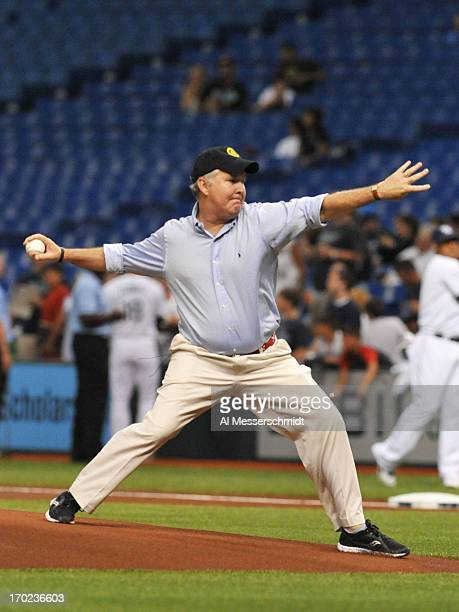 Tampa Mayor Bob Buckhorn throws out a ceremonial first pitch as the Tampa Bay Rays host the New York Yankees May 24 2013 at Tropicana Field in St...