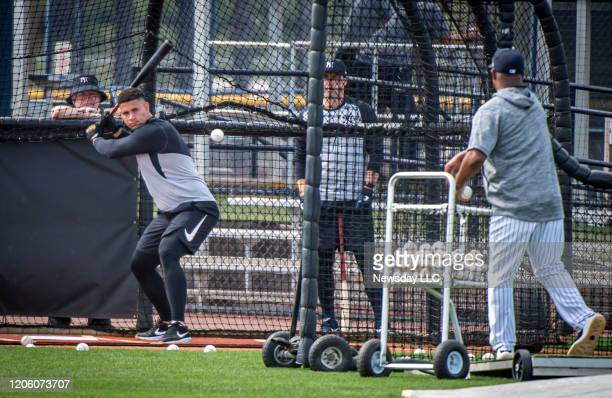 Yankees' catcher Gary Sanchez takes batting practice during spring training camp at George M. Steinbrenner Field in Tampa, Florida on February 11,...