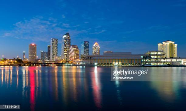 Tampa skyline with lights and buildings
