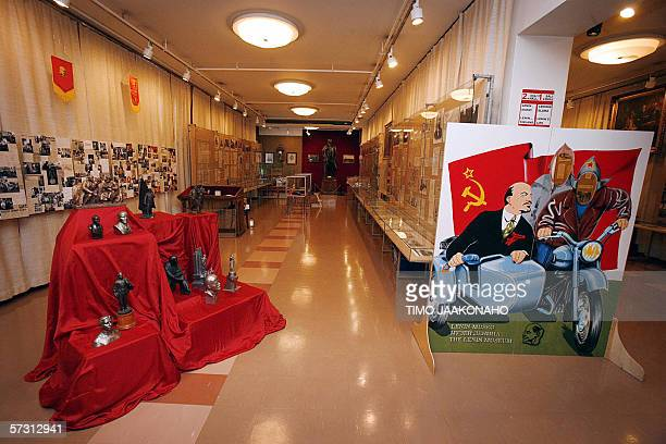 A picture taken 20 January 2006 shows Soviet Union founder Vladimir Lenin memorabilia during an exhibition in the Workers' Hall of the only permanent...