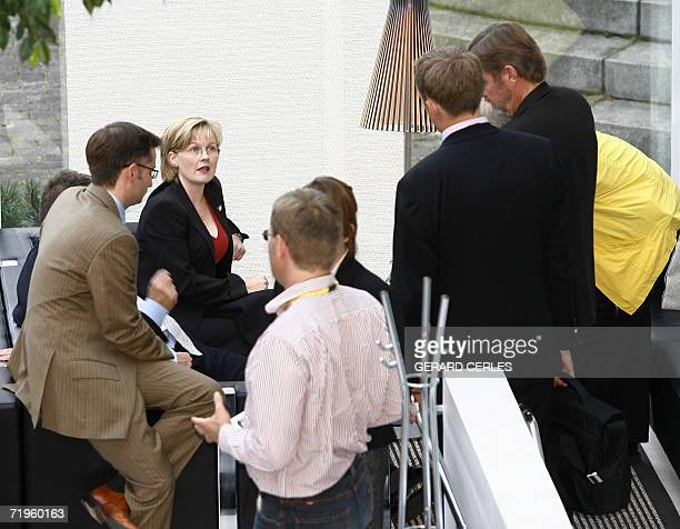 Danish minister for Refugees Immigration and Integration Affairs Rikke Hvilshoj speaks with journalist at the end of the working session of the...