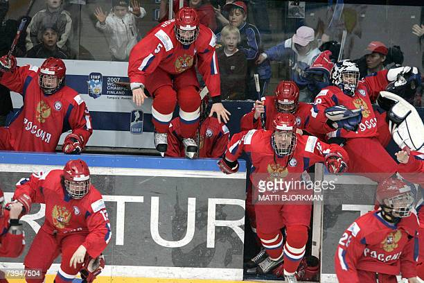 The Russian team celebrates after winning the Ice Hockey final match over the USA at the IIHF World U18 Championship in Tampere Finland 22 April 2007...