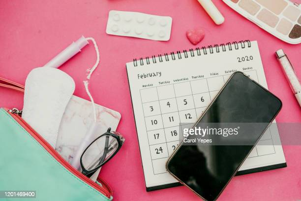 tampon and calendar and feminine products - styles stock pictures, royalty-free photos & images