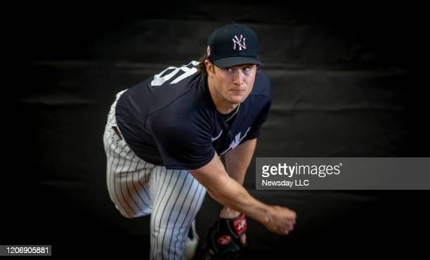 New York Yankees' pitcher Gerrit Cole throwing in the bull pen during spring training in Tampa Florida on February 16 2020