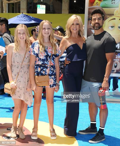 Tamra Judge husband Eddie Judge and daughters Sidney Barney and Sophia Barney attend the premiere of The Emoji Movie at Regency Village Theatre on...