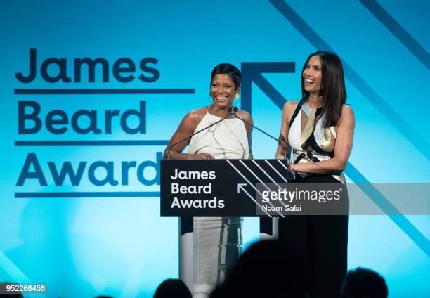 Tamron Hall and Padma Lakshmi speak at the 2018 James Beard Media Awards at Pier Sixty at Chelsea Piers on April 27 2018 in New York City